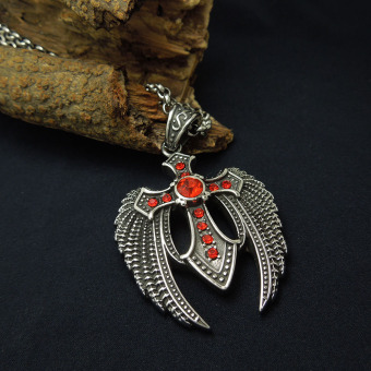 Silver Tone Black Enamel Red CZ Angel Wing Stainless Steel CrossPendant Necklace Free Chain 60CM Long - Intl - 2