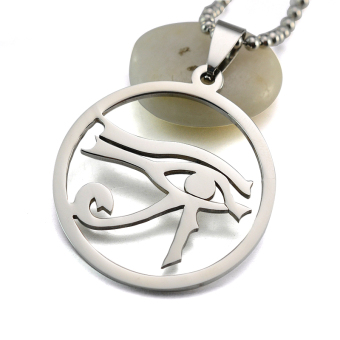Silver Tone Stainless Steel Egyptian Eye of Horus Pendant Necklace Chain 60CM Long - intl