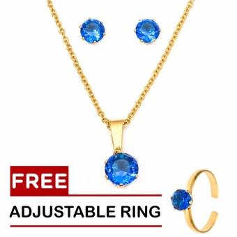 Silverworks 18k Gold Plated September Birthstone Sets with Free Adjustable Ring