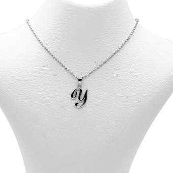 Silverworks X1783 Letter Y Necklace (Silver)