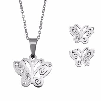 Silverworks X3251 Butterfly Pendant Necklace with Earrings - 5
