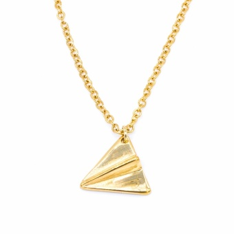 Silverworks X3638 18K Gold Plated Paper Airplane Design Necklace