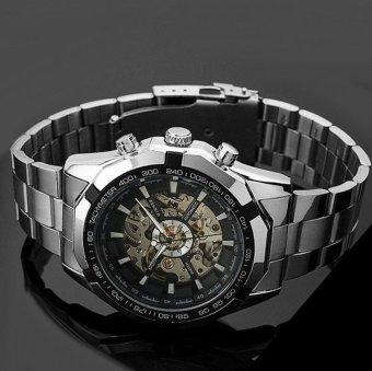 Skeleton Automatic Watches For Men Silver Stainless Steel Wrist Watch - 2