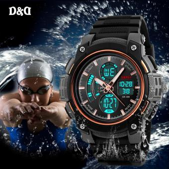SKMEI 1192 Men Fashion Double Time Clock Rubber Strap Sports Watch Military LED Wristwatch