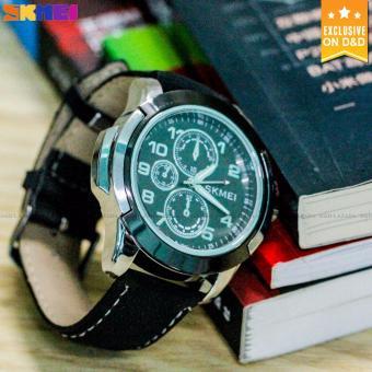 SKMEI 3999 Men's Fashion Leather Strap Sports Quartz Wrist Watch BLACK - 4