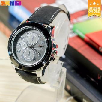SKMEI 3999 Men's Fashion Leather Strap Sports Quartz Wrist Watch BLACK - 2