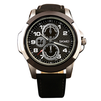 SKMEI 3999 Men's Fashion Leather Strap Sports Quartz Wrist Watch(Black)