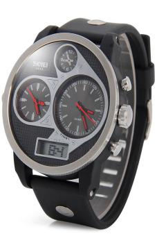 SKMEI Men Black Polyurethane Strap Watch