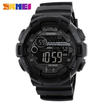 SKMEI Men Sports Digital Watches Double Time Clock AlarmWristwatches Back Light Chronograph 50M Waterproof Fashion Watch1243 - intl