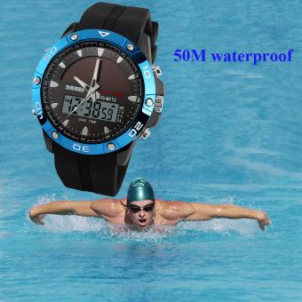SKMEI Solar Power Watch Waterproof Sports Watches Men Women Digital Analog EL Light Outdoor Swimming Diving Watch (Blue) - Intl - 4