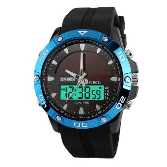 SKMEI Solar Power Watch Waterproof Sports Watches Men Women Digital Analog EL Light Outdoor Swimming Diving Watch (Blue) - Intl - 3