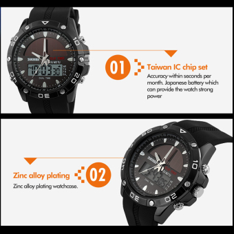 SKMEI Solar Power Watch Waterproof Sports Watches Men Women Digital Analog EL Light Outdoor Swimming Diving Watch (Blue) - Intl - 5