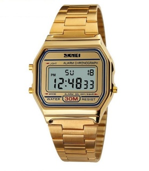 Skmei Vintage Unisex Gold Stainless Steel Strap Watch 1123