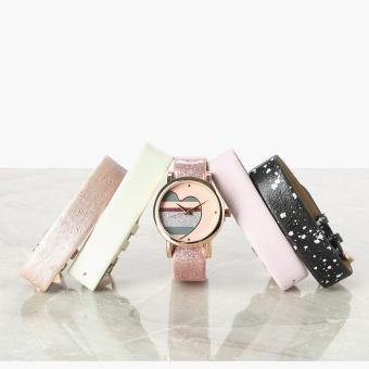SM Accessories Girls Striped Heart Interchangeable Strap Watch
