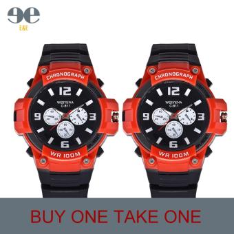 SMAEL C811 Fashion Men Black Silicone Strap Sport Quartz WristWatch(Red)/BUY ONE TAKE ONE Price Philippines