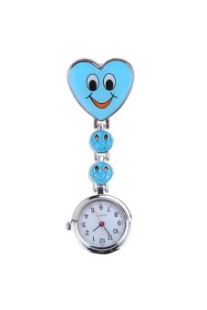 Smile Heart Clipon Pendant Pocket Quartz Watch Blue