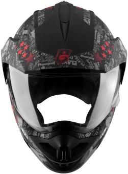 SOL Dual Sport Motard SS-1 PG Motorcycle Helmet (Glossy Black/Red) - 4