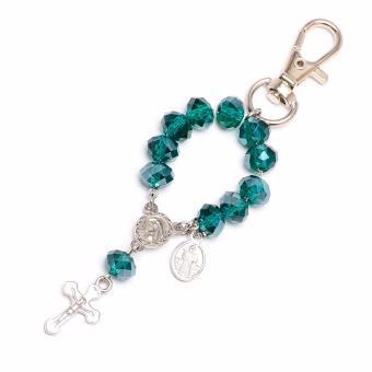 Soleful by Cez May Birthstone Rosary Keychain with Prayer Card (Emerald) - 2