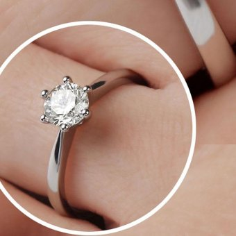 Solitaire Ring Women's Engagement Cubic Zirconia Diamond Ring Solid 925 Sterling Silver Jewelry - 3