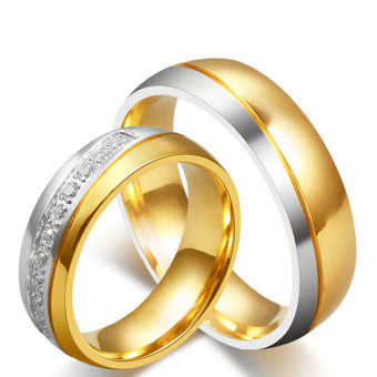 Stainless Steel 18k Gold Plated Wedding Engagement Band Couple Ring - intl