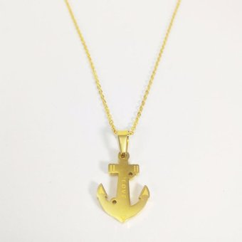 Stainless Steel Anchor Pendant Necklace (Gold) With Free Stainless Gold Heart Earrings