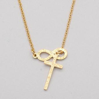 Stainless Steel Frosted Cross Infinity Necklace - Gold - 2
