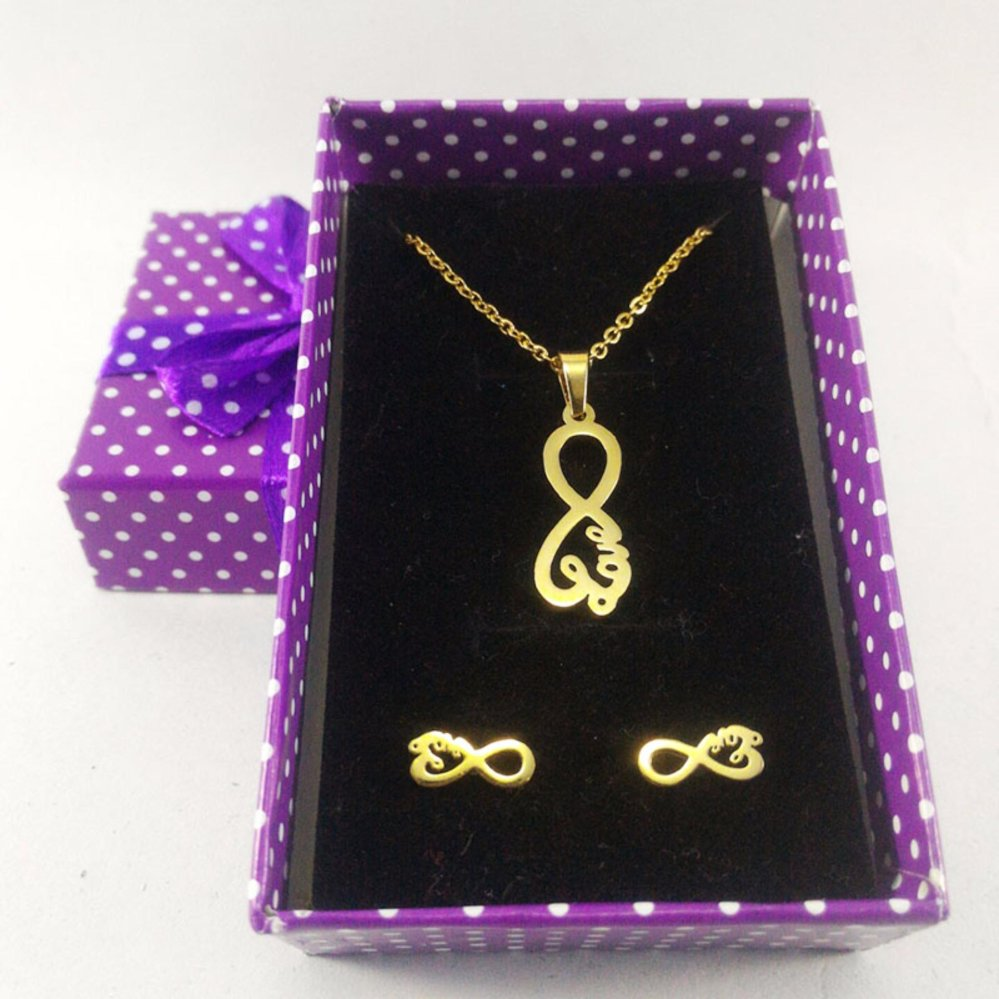 Stainless Steel Infinity Love Necklace Earrings Set Gold With Free Heart
