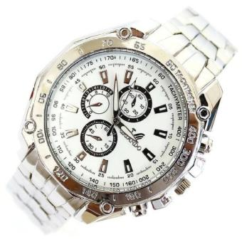 Stainless Steel Strap Quartz Man Waterproof Business Watch (White )