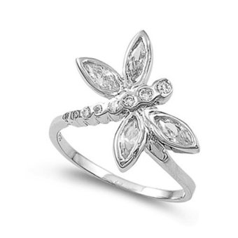 Sterling Silver Dragonfly Ring with Clear CZ Stones (Intl)