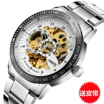Stylish men waterproof student watch porous mechanical watch
