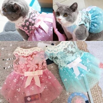 Summer Pet Dog Dress Wedding Party Dog Cat Princess Tutu Skirt SoftPuppy Clothes for Small Dog Teddy Color:Blue Size:10 yards S - intl - 3