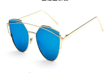 Sunglasses Women Fashion Summer Style Sun glasses for Women Designer Twin-Beams Shades(Gold frame Blue mirror) - intl - 2