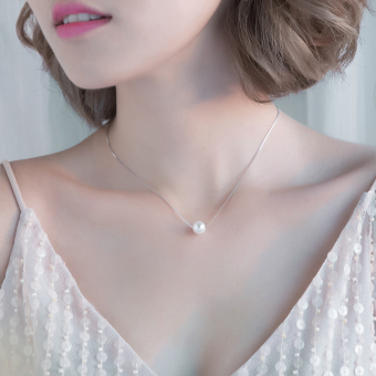 Sweet elegant 925 sterling silver pearl pendant necklace
