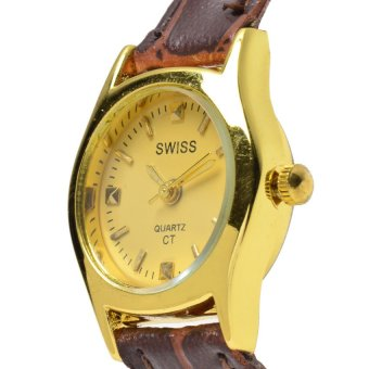SWISS Piedras Women's Brown Leather Strap Watch ALL59 - picture 2
