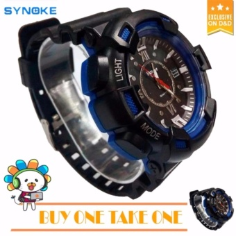 SYNOKE Fashion Men Black Silicone strap Sport Quartz Wrist Watch BUY ONE TAKE ONE C-SY888
