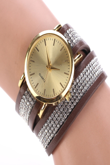 Synthetic Leather Sequins Button Round Casual Wristwatch (Coffee)
