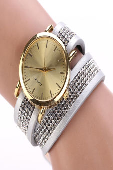 Synthetic Leather Sequins Button Round Casual Wristwatch (White)