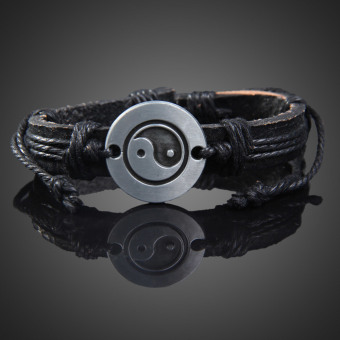 Tai Chi Wrap Multilayer Leather Bracelet with Braided Rope Fashion Jewelry (Intl) - picture 2