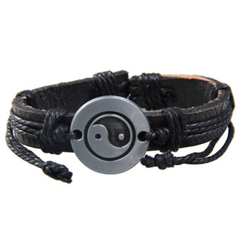 Tai Chi Wrap Multilayer Leather Bracelet with Braided Rope Fashion Jewelry (Intl)