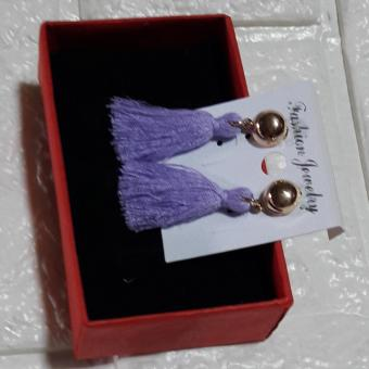 Tassel Earring Rose Gold color Violet - 2