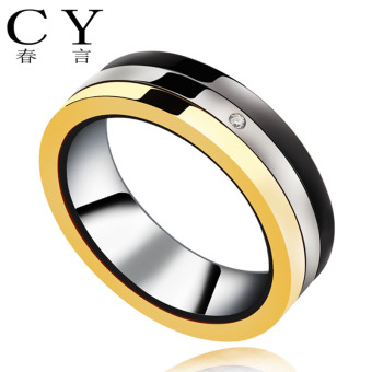 Three Ring Korean-style can be rotating titanium steel men's ring
