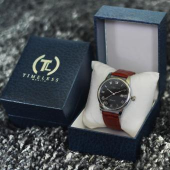 Timeless Manila George Datejust Roman Numeral Leather Watch (Black/Mapple) with Free Timeless Manila Watch Box