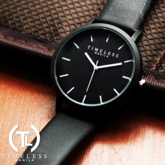 Timeless Manila Jules Linear Leather Watch (Black)