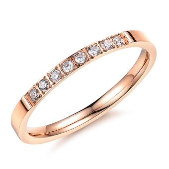 Titanium Steel Ring Fashion jewelry Zircon Rings for Women(RoseGold) - intl