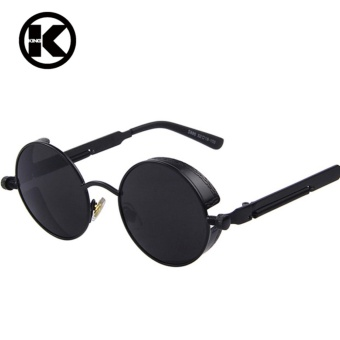 Top Designed Brand Gothic Steampunk Sunglasses Coating Mirrored Sunglass Round Circle Sun glasses Vintage UV400 Sunglasses Unisex - intl