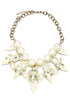 Toprank Beads Rhinestone Pendant Chain Necklace (Green)