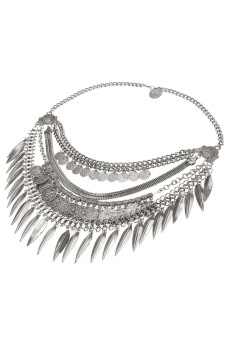 Toprank Bib Chunky Alloy Coin Tassel Necklace Unique Collar Pendant Statement Jewelry For Women ( Silver )