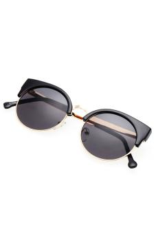 Toprank Retro Vintage Women Casual Round Lens Sunglasses UV400 ( Black Gold )