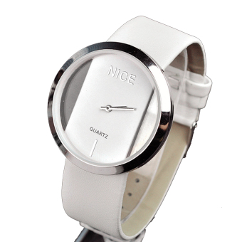 Transparent Dial Faux Leather Wrist Watch (White)