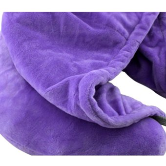Travel Neck Pillow with Hood (Violet) - 2
